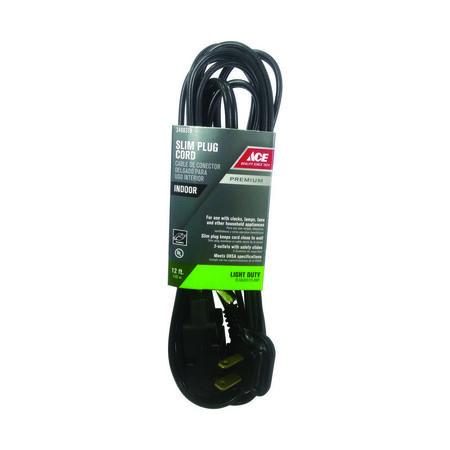 Ace Indoor Extension Cord 16/2 SPT-2 12 ft. L Black