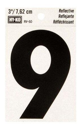 Hy-Ko Self-Adhesive Black Reflective Vinyl Number 9 3 in.