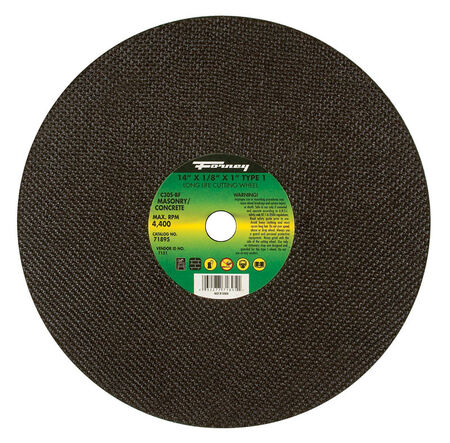 Forney 14 in. Dia. x 1/8 in. thick x 1 in. Masonry/Asphalt Cutting Wheel