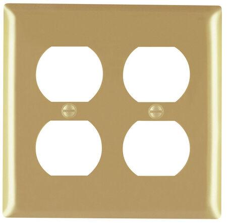 Pass & Seymour 2 gang Brass Duplex Outlet Wall Plate 1 pk