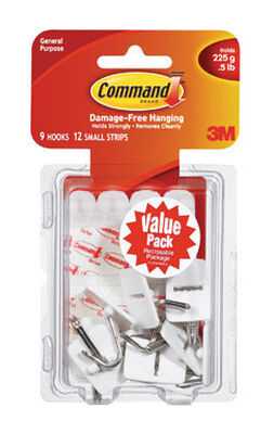 3M Command Small Wire Hook 1-5/8 in. L Plastic 1/2 lb. per Hook 9 pk