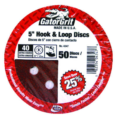 Gator 5 in. Dia. Sanding Disc 40 Grit Extra Coarse Hook and Loop 50 pk