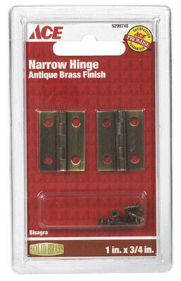 Ace 1 in. L Narrow Hinge Antique Brass