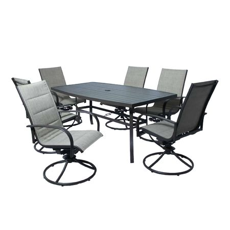Living Accents Taylor 7 pc. Brown Steel Dining Patio Set