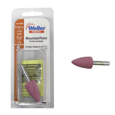 Weiler 3/4 in. Dia. x 0.25 in. Aluminum Oxide grain Cone Stem Mounted Point