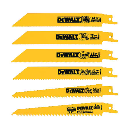 6 Piece Bi-Metal Reciprocating Saw Blade Set