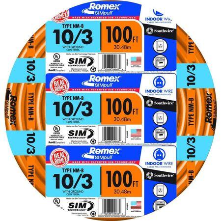 Southwire 100 ft. 10/3 Romex Type NM-B WG Non-Metallic Wire Orange