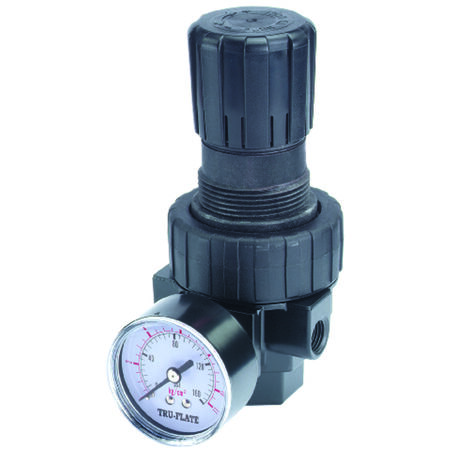 Tru-Flate Plastic Compact Regulator with Gauge 1/4 in. NPT