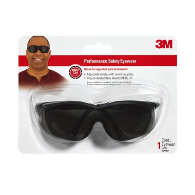 3M Tekk Multi-Purpose Safety Glasses Antifog Gray Lens Black Frame Carded