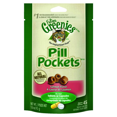 Greenies Pill Pockets Salmon Dry All Ages Cat Treats 45 pk