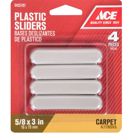 Ace Plastic Rectangle Slide Glide Brown 5/8 in. W x 3 in. L 4 pk