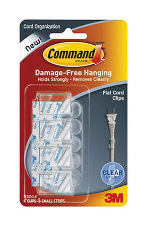 3M Command Small Flat Cord Clip 1-3/4 in. L Plastic 4 pk