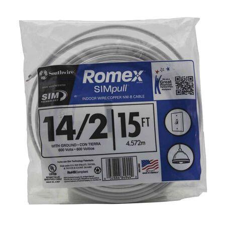 Southwire SimPull 15 ft. 14/2 Romex Type NM-B WG Non-Metallic Wire White