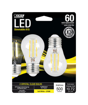 FEIT Electric LED Bulb 6 watts 500 lumens 2700 K A-Line A15 2 pk 60 watts equivalency