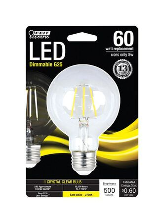 FEIT Electric LED Bulb 5 watts 500 lumens 2700 K Globe G25 Soft White 60 watts equivalency