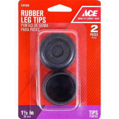 Ace Rubber Round Leg Tip Black 1-1/2 in. W 2 pk