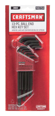Craftsman Long Arm SAE Standard Ball End Hex Key Set 13 pc.