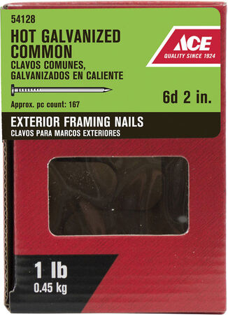Ace Flat 2 in. L Framing Nail Smooth Hot-Dipped Galvanized 1 lb.