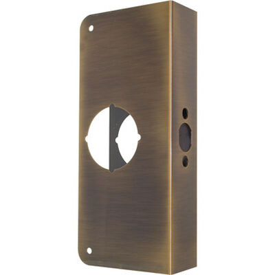 Prime-Line Lock and Door Reinforcer Entry 1.37 in. 4.5 in. x 3.87 in. x 1.37 in. Antique Brass Solid