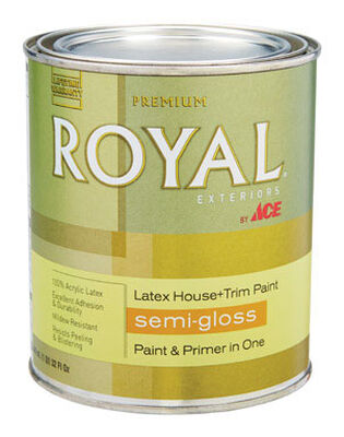 Ace Royal Acrylic Latex House & Trim Paint & Primer Semi-Gloss 1 qt. Hi Hiding White