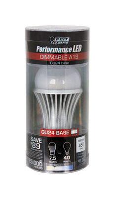 FEIT Electric LED Bulb 7 watts 450 lumens 3000 K A-Line GU24 A19 1 pk 40 watts equivalency
