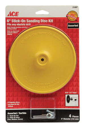 Ace 6 in. Dia. Sanding Disc Kit Assorted Adhesive 4 pc.