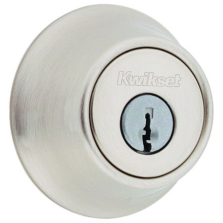 Kwikset Satin Nickel Single Cylinder Deadbolt 1-3/4 in. For All Standard Door Preparations 0 1 2