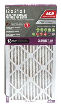 Ace 24 in. L x 12 in. W x 1 in. D Pleated Air Filter 13 MERV