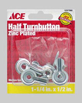 Ace Zinc Surface mount Screen/Storm Half Turn Button Silver 4 pk
