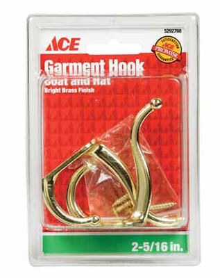 Ace Small Coat and Hat Hook 3 in. L Brass 2 pk