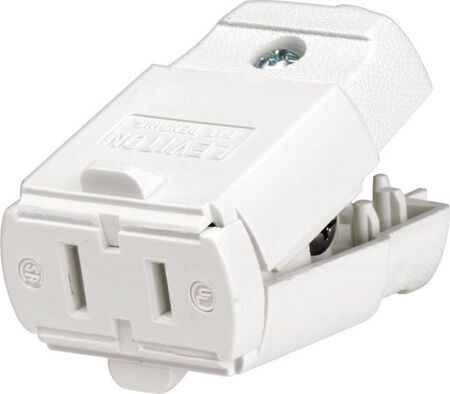 Leviton Residential Thermoplastic Polarized Connector 1-15R 20-16 AWG 2 Pole 2 Wire White