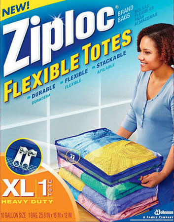 Ziploc Flexible Storage Tote 10.9 in. H x 16 in. W x 13 in. D