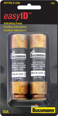 Bussmann easyID Dual Element Time Delay Fuse 50 amps 250 volts 2 pk For AC Power Distribution Syst