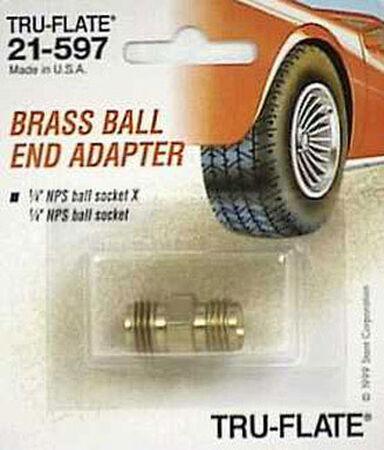 Tru-Flate Brass Ball-End Adapter 1/4 in. MNPT w/Ball Socket x 1/4 in. MNPS w/Ball Socket in. Male