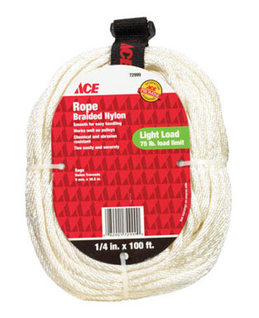 Ace 1/4 in. Dia. x 100 ft. L Solid Braided Nylon Rope White