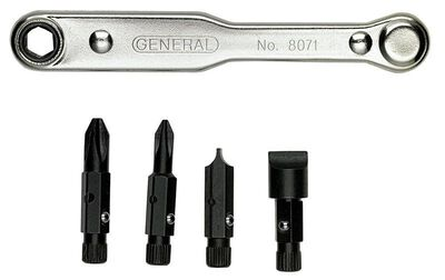 General Tools Ratcheting 5 Piece x 4 in. L Assorted Offset Screwdriver Set Silver 1 pc.