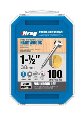 Kreg Washer Pocket-Hole Screw No. 8 x 1-1/2 in. L Zinc Steel 100 pk