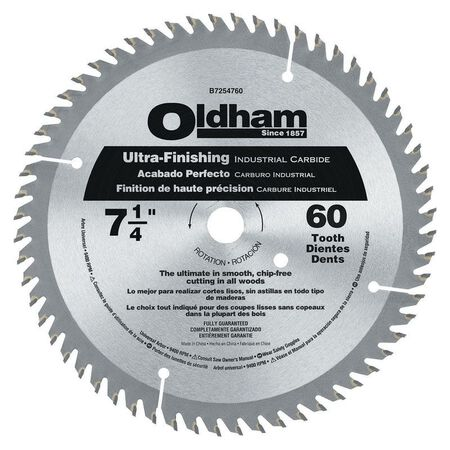Oldham 7-1/4 in. Dia. 60 teeth Carbide Tip Steel Circular Saw Blade For Fine Tooth Finish