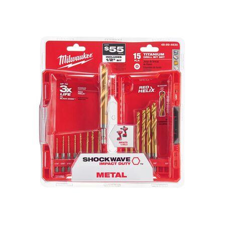 Milwaukee SHOCKWAVE Titanium RED HELIX Drill Bit Set 15 pc.