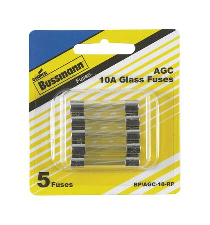 Bussmann 10 amps AGC Glass Tube Fuse 5 pk