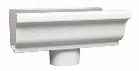 Amerimax 5 L x 3 in. W x 5 in. H x 5 in. W K Outlet with Drop Aluminum White