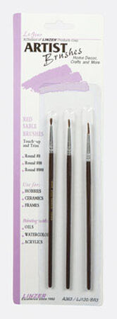 Linzer No. 000 No. 00 and No. 0 W Assorted Shapes Red Sable Artist Paint Brush Set