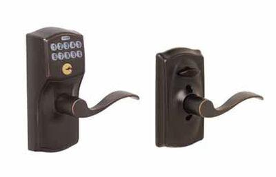 Schlage Camelot Electronic Keypad Entry Lock Steel Aged Bronze 2 Grade Left Handed Right Hande