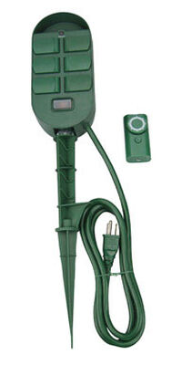 Woods Outdoor 6 Outlet Power Stake Timer Green