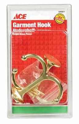 Ace Medium Long Arm Garment Hook 3.5 in. L Brass 2 pk
