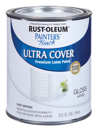 Rust-Oleum Painters' Touch Ultra Cover Interior/Exterior Latex Paint White Gloss 1 qt.