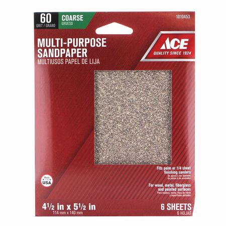 Ace 5-1/2 in. L x 4-1/2 in. W 60 Grit Aluminum Oxide 1/4 Sheet Sandpaper 6 pk