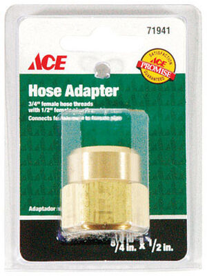 Ace 3/4 in. FHT x 1/2 in. FPT Brass Hose Adapter Female Threaded