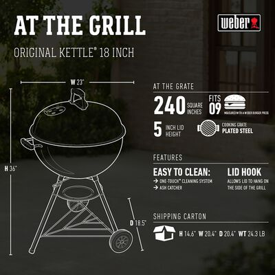 Weber Original 18 inch Charcoal 35 in. H Kettle Grill Black
