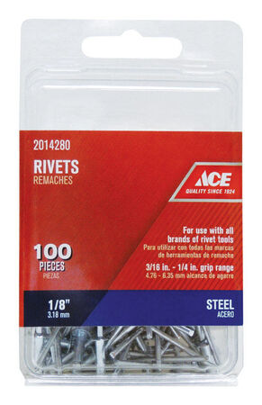 Ace 1/8 in. Dia. x 1/4 in. Steel Rivets 100 pk